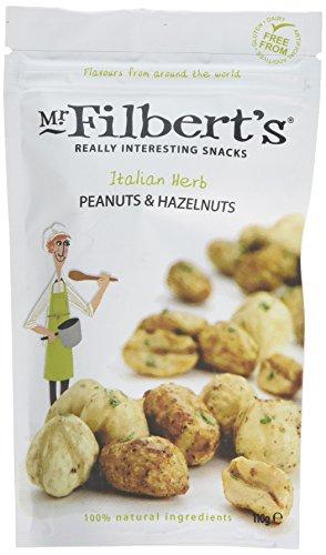 Mr Filbert's Fine Foods Italian Herb Peanuts & Hazelnuts   Vegan, Dairy Free & Gluten Free   100% Natural Ingredients   Roasted with Mediterranean Herbs - 3 Packs of 110g