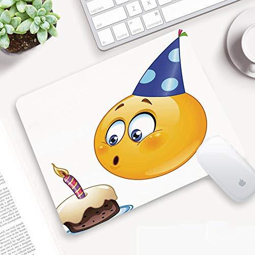 Alfombrilla Ratón 320x250 mm,Decoraciones de cumpleaños para niños, Happy Emoji Face con cono Hat Blo,Antideslizante e Alfombrilla goma Impermeable Ideal para Portátil, Teclado, Gaming Hogar y Oficina