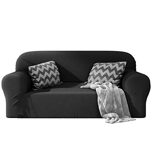 Dreamzie - Sofabezug 2 Sitzer Elastische - Grau - Oeko-TEX® - Sofa Überzug 60{21bc0c5e944e1c991e6665487cddc684b2ee63c83205e2d6f10e01fcf2049be0} Recycelter Baumwolle - Made in Europe