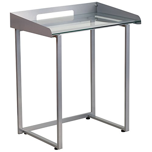 Flash Furniture Contemporary Clear Tempered Glass Desk with Raised-Cable Management Border and Silver Metal Frame