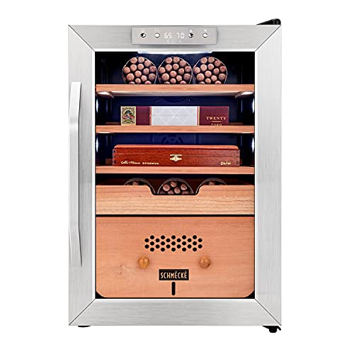 Schmécké 300 Cigar Cooler Humidor with 3 in 1 Precise Cooling, Heating & Humidity Control, Stainless Steel Trim Finish Cabinet, Spanish Cedar Wood Shelves and Drawer with Built in Digital Hygrometer