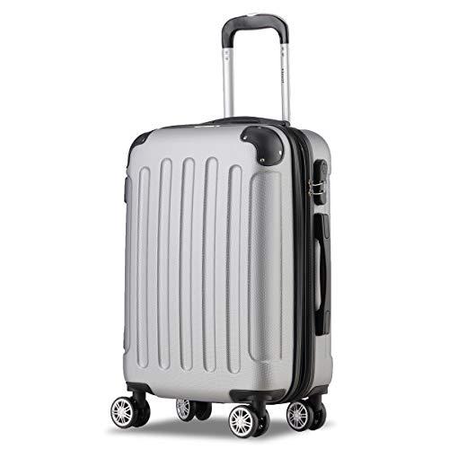 Flexot 2045 Handgepäck Koffer (Bordcase) - Farbe Silber Größe M Hartschalen-Koffer Trolley Rollkoffer Reisekoffer Handgepäck 4 Rollen