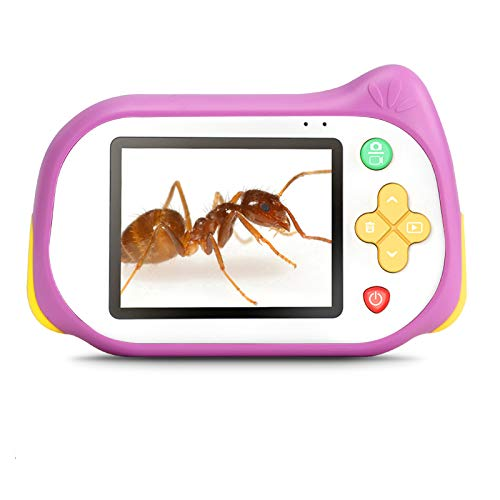 Kids Camera with Microscope Function,Koolertron 200X Magnifier Digital Microscope 15MP 4K Compact Starter Camera Mini Video Player Recorder 32GB TF Card Choice for 3-10 Years Old Boys Girls (Pink)