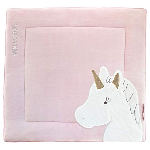 Doudou et Compagnie Tapis de parc 100 x 100 cm - Collection Tapidou - motif Licorne rose/or