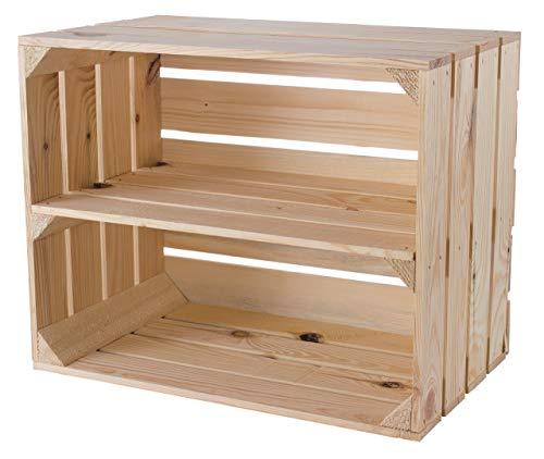 moooble Helle Obstkiste mit Zwischenboden 50cm x 40cm x 30cm Weinkisten Naturbelassen Regalkiste Holzboxen stabile Dekokisten für Flur/Wohnzimmer