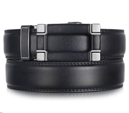 Mio Marino Ratchet Belts for Men - Genuine Leather Dress Belt - Automatic Buckle (Point Square Classic - Black, Adjustable from 28