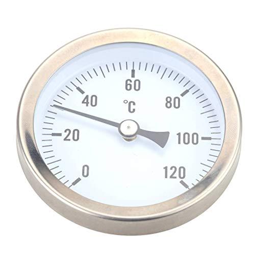 rongweiwang Calefacción Caliente del Tubo de Agua de Acero Inoxidable 120º termómetro bimetálico Pipe Temperatura a Prueba de Agua Reloj de medición de 63 mm Temperatura