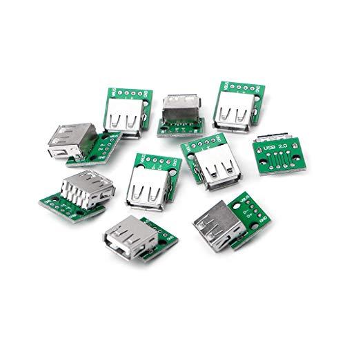 Preisvergleich Produktbild JUNESUN 10 Pcs USB 2.0 Buchse zum DIP 4P Adapterstecker 2.54mm Geschweißte Platine