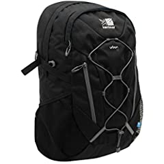30L capacity. Laptop compartment. Organizer pocket. Carry handle. Reflective details. Bungee cord. Coolmesh contact mesh. KS p300BRS fabric. H18.9 x W13.78 x D5.12 in.. Wipe clean with a damp cloth. Imported.