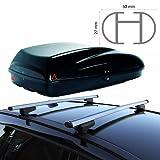 EMMEA Barre PORTATUTTO Box Baule Tetto Porta Tutto Alluminio Compatibile con Peugeot 3008 Rails 5P 2016  Porta PACCHI Helios 320 G3 Serratura ANTIFURTO Rail Chiusi Porta Bagagli Tetto Auto