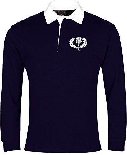 Old School Football Retro Schottland National Rugby Trikot, gesticktes Logo, navy, Größe S