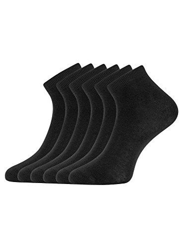 oodji Ultra Mujer Calcetines Tobilleros (Pack de 6), Negro, 35-37