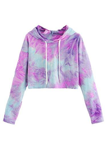 SweatyRocks Women's Tie Dye Long Sleeve Workout Crop Top Sweatshirt Hoodies Purple Blue L
