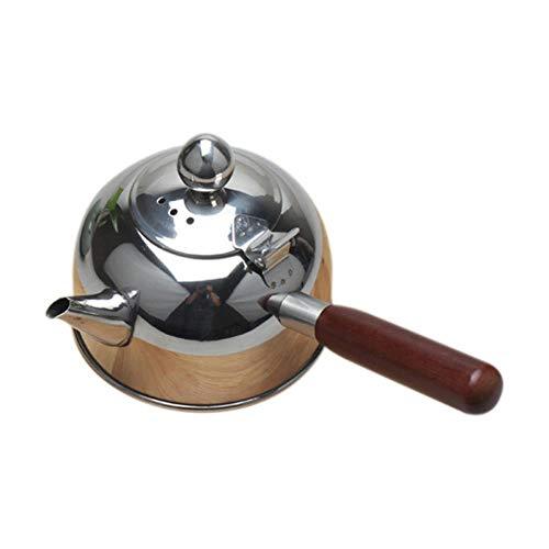 LLine Waterkoker met enkele handgreep Inductie Turk Samll Koffie Melk Theepot 304 Roestvrijstalen buitenwaterketel, zilver