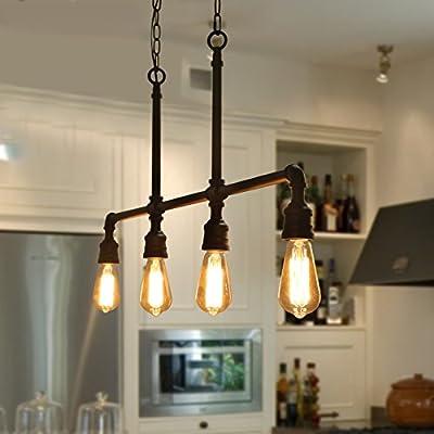 LOG BARN A03357 Linear Chandelier, 4-Light Kitchen Island Light Fixture Industrial Pendant Lighting in Hand-Polished Black Metal Finish