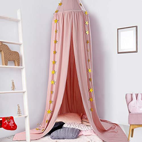 Baby Baldachin, Betthimmel Kinder, Ceekii Babys Bett Kinderzimmer Bettvorhang Baumwolle Deko Moskitonetz für Prinzessin Spielzelte Babybett & Schlafzimmer Dekoration mit Sternengirlande (Pink)