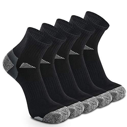 Lot de 5 paires de chaussettes de course pour homme et femme, Noir – 5 paires., UK 4-6 // EU 37-39