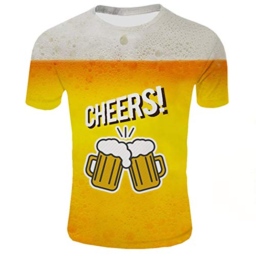 FRAUIT T-shirts heren 3D-print bierpatroon korte mouwen shirt mode comfort blouse top sport fitness T-shirt