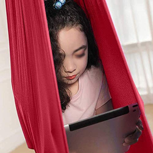 zyy Red Sensory Swing Chair Hanging Seat Adjustable Aerial Flying Yoga Hammock For Kids Or Adults Tree Rope Autism Therapy (Size : 100x280cm/39x110in)