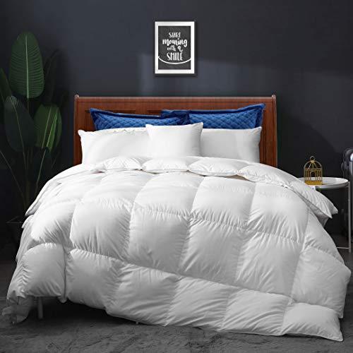 APSMILE All Seasons Goose Down Comforter Full/Queen Down Duvet - Ultra-Soft Egyptian Cotton, 750 Fill-Power 46oz Cloud Fluffy Medium Warm Quilt Comforter Insert(90x90, Solid White)