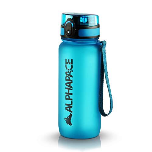 ALPHAPACE Trinkflasche, auslaufsichere 650 ml Wasserflasche, BPA-freie Flasche für Sport, Fahrrad & Outdooraktivitäten, Sportflasche mit Fruchteinsatz, in Blau
