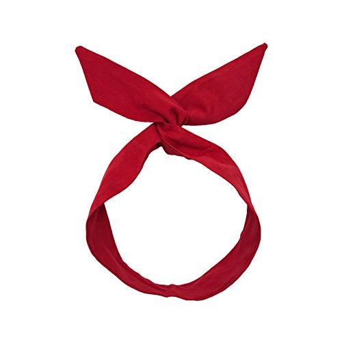 JUNGEN Bande de Cheveux Pliable Forme Bunny Oreille Headbands Bow Tissu Cross Noué Serré-tête Bande Cheveux Accessoire pour Femmes (Rouge)
