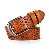 DORRISO Elegante Mujer Cinturón de Piel vacuno Para Mujeres Con la hebilla del Pin de la Aleación Hueco Flor Diseño Cinturón 105 110 115CM Marrón