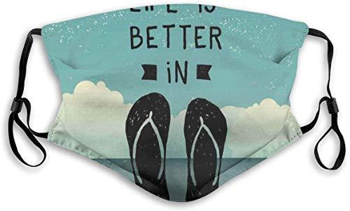 Sandalias de playa cómodas y resistentes al viento, con garabatos dibujados a mano con un mensaje en fondo oceánico, decoraciones faciales impresas para unisex M