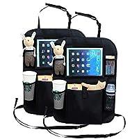 WildAuto Organizador para Coche,2PCS Protector de Respaldo de Asiento de Carro Kick Mats,Almacenamiento Multibolsillos para Juguetes/Botellas/Paraguas/IPad de 10 Pulgadas