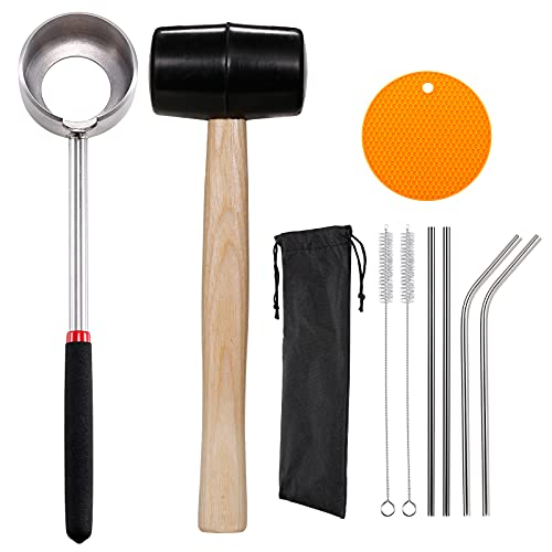Coconut Opener Tool Set, Food Grade Stainless Steel Coco Jack Opener Kit for Coconut Young & Mature, Coconut Shell Puncher Knife with Rubber Hammer, Straws, Brush, Silicone Mat, All In One Bag
