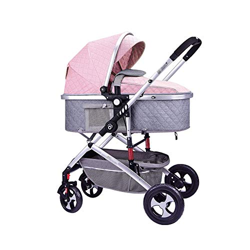 YANGYUAN 3 en 1 Cochecito de bebé Plegable Anti-Choque de Alta Vista del Carro del Cochecito Infantil Carrito silleta (Color : B)
