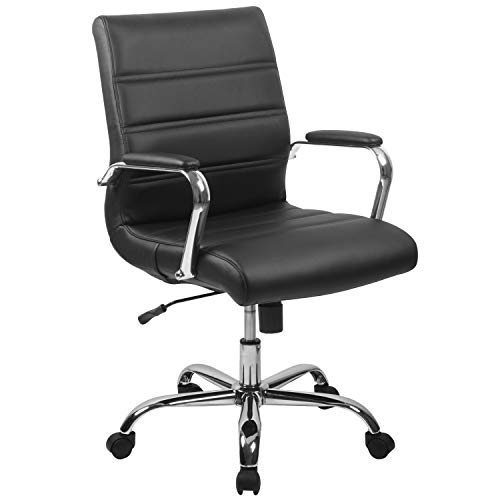 Flash Furniture Mid-Back Black LeatherSoft Executive Swivel Office Chair with Chrome Base and Arms, BIFMA Certified