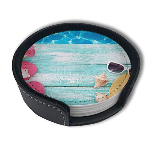 BJAMAJ Summer Blue Sea Flip Flop Hut Premium PU Leder Untersetzer Getränke-Runde Untersetzer mit Halter-Sets, geeignet für Zuhause und Küche, 6 Stück