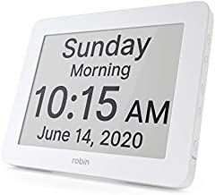 Robin, 2020 Version, Digital Day Clock 2.0 with Custom Alarms and Calendar Reminders, Alarm Clock with Extra Large Display helps with Memory Loss, Alzheimer's and Dementia, White