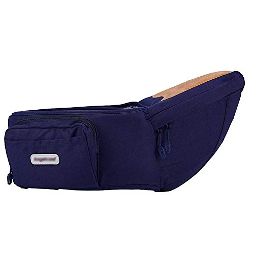 Angelbaby Baby Infant Hip Seat Carrier with pockets, Lightweight Toddler Waist Stool Seat Belt Carrier (Navy Blue)