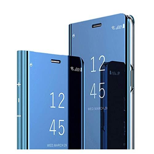 Hülle Kompatibel für Samsung Galaxy A50 Hülle Mirror Flip Schutzhülle Ganzer Körperschutz Spiegel Handyhülle Ultradünn PU Handy Schutz Löschen Clear View Cover für Samsung Galaxy A50
