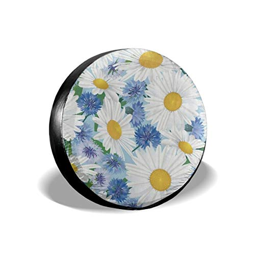 N\ A Universal Spare Tire Cover Daisy Blue Chamomile Flower Car RV Camper Wheel Tyre Covers Protectors for Trailer, SUV, Travel, Truck, Boat, Motorhome, Vehicle, Auto Accessories, Waterproof XXL 17'