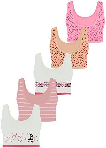 LOREZA ® 5 Mädchen Bustier Baumwolle BH Sport Bra (152-158, M-225-5 Stück)