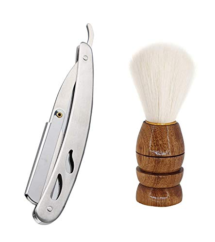 Shri Kanth Art Beard Shaving Brush With Free Shaving Razor For Men And Boys (Combo Of 2) (Multicolor)