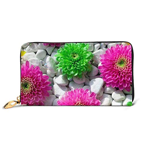 Purple Green Floower Large Capacity Zip Around Slim Billfold PU Leather Wallet Card Holders for Men Women Boy Girl