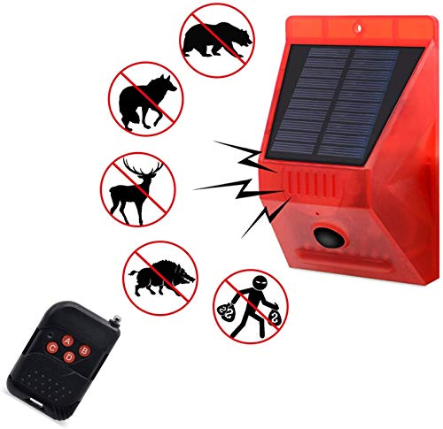 Solar Motion Sensor Light Outdoor Solar Security Light with Remote Controller 129db Sound Security Siren Light IP65 Waterproof 24 Hours+Night Mode for Home, Farm,Barn,Villa,Yard