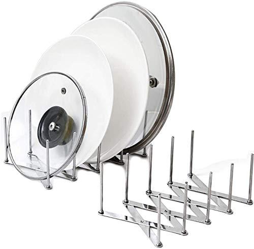 2PCS Küchenutensilienhalter für Teller, Töpfe, Deckel, verstellbare , Edelstahl,Arbeitsplatte, Abfluss-Ablage für Pfannendeckel, Teller, Geschirr