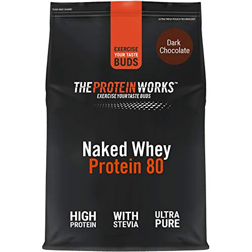 THE PROTEIN WORKS Naked Whey Protein 80 Powder | 100% Natural | With Stevia | Low Fat Shake | Dark Chocolate | 1 Kg