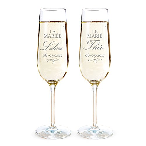 AMAVEL Set de 2 Flûtes à Champagne avec Motif pour Les Mariés, Personnalisées avec 2 Prénoms et 1 Date, Volume 0,2 L