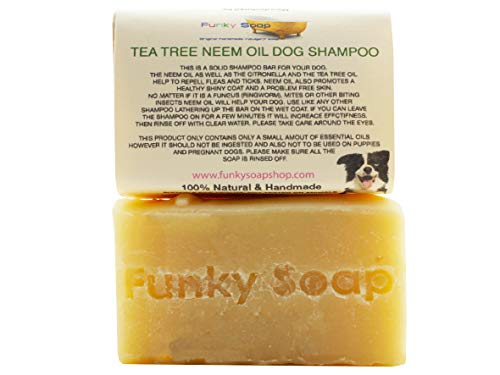 Champú para perro Funky Soap Tea Tree & Neem, 100% natural, hecho a mano, 1 barra de 120 g