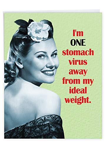NobleWorks - Jumbo Get Well Card Funny (8.5 x 11 Inch) - Group Humor Greeting Card, Feel Better Soon - Virus Diet J7210GWG-US