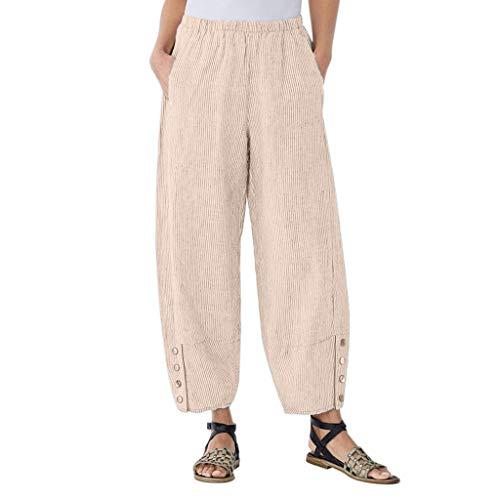 Xmiral Hosen Damen Einfarbig Knopf Hosen Elastische Taille Lose Breite Bein Hosen Gerade Slim Freizeithosen Latzhose Jogginghose(Beige,3XL)