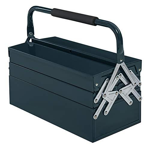 DURHAND Werkzeugkasten Werkzeugkoffer Werkzeugkiste 5 Fächer aufklappbar Stahl (SPCC) Dunkelgrün 45 x 22,5 x 34,5 cm