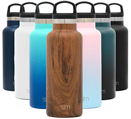 Simple Modern Insulated Water Bottle with Handle Lid Small Reusable Ascent Narrow Mouth Stainless Steel Thermos Flask, 17oz Handle Lid, Pattern: Wood Grain