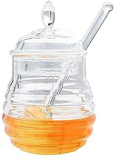 Wifehelper Tarro de Miel con Forma de Colmena Transparente de 245 ml con Gotero para Almacenar y Dispensar Dispensador de Jarabe de Miel